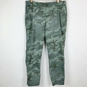 Gap Womens 12 Girlfriend Chino Pants Green Camo